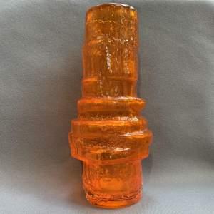 Whitefriars Glass Tangerine Hooped Vase
