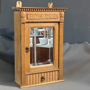 Art Deco French Oak Carved Wall Cabinet