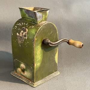19th Century Swedish Green Metal Coffee Grinder