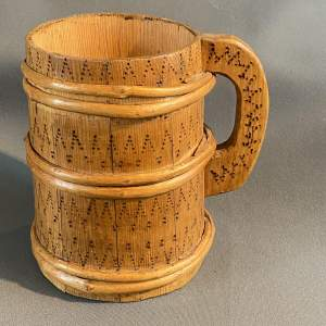 Early European Wooden Poker Work and Coopered Jug