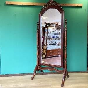 Vintage Large Mahogany Regency Style Cheval Mirror