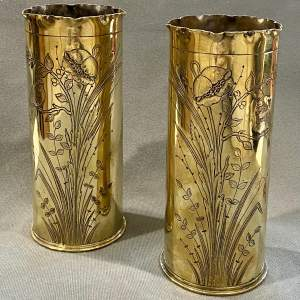 20th Century Pair of Brass Engraved Trench Art Vases