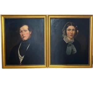 Pair of Victorian Oil Portrait Paintings