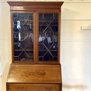 Edwardian Inlaid Mahogany Bureau Bookcase