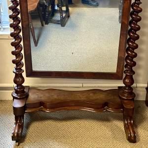 Large Victorian Barley Twist Cheval Mirror