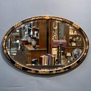 Early 20th Century Chinoiserie Framed Oval Wall Mirror