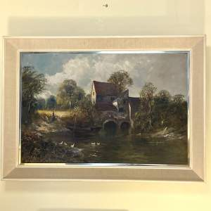 Early 20th Century Oil on Canvas of Bishops Hill Mill