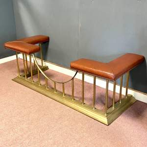 Mid 20th Century Brass and Steel Leather Seated Club Fender