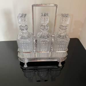 James Dixon Silver Plated Three Crystal Decanter Tantalus Circa 1810