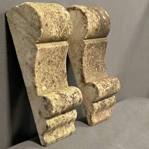 Pair of Patinated Marble Architectural Corbels