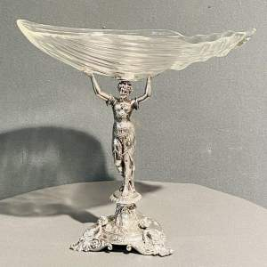 Late Victorian Silver Plated Fruit Bowl on Figural Stand Centrepiece