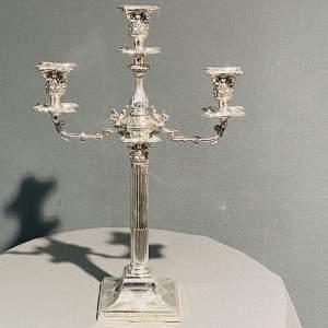 Mid Victorian Silver Plated Three Branch Candelabra