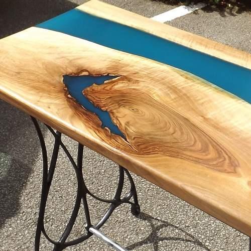 Waney Live Edge Walnut Epoxy River Table on Salvaged Iron Base image-2