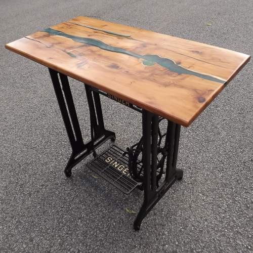 Waney Live Edge Yew Wood Epoxy River Table Desk on Salvaged Base image-1