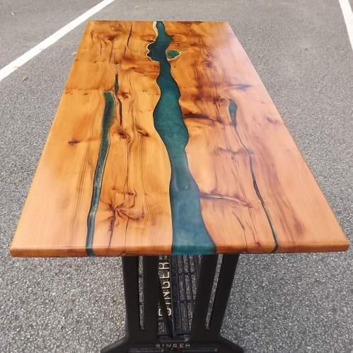 Waney Live Edge Yew Wood Epoxy River Table Desk on Salvaged Base image-2