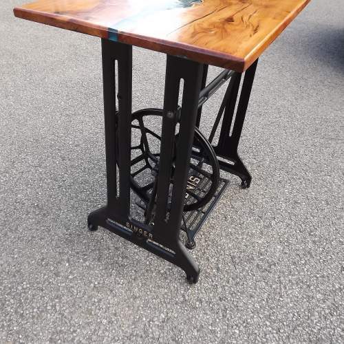 Waney Live Edge Yew Wood Epoxy River Table Desk on Salvaged Base image-4