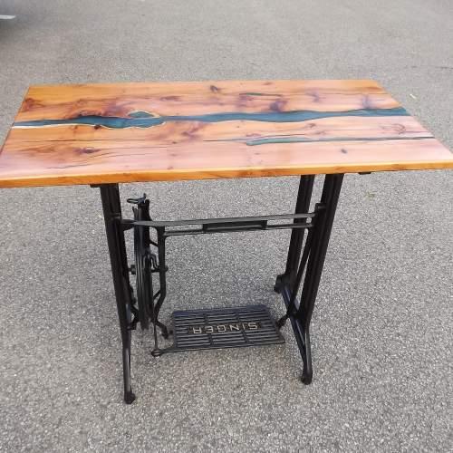 Waney Live Edge Yew Wood Epoxy River Table Desk on Salvaged Base image-5