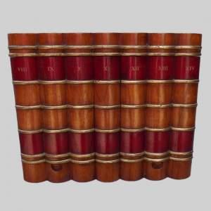 Painted Oak Trompe l'oeil Faux Book Storage Box - Red