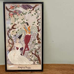 Vintage Sleeping Beauty Framed Embroidery