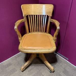 Early 20th Century Oak Swivel Chair