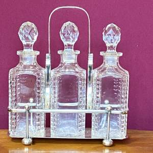 Silver Plated Three Decanter Holder