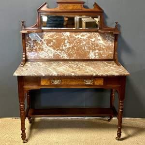 Victorian Mahogany and Walnut Marble Top Washstand