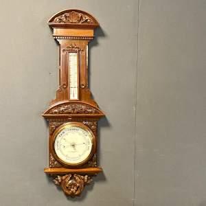 19th Century Carved Mahogany Aneroid Barometer