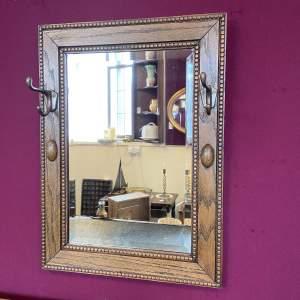 Vintage Oak Mirror With Hat Hooks