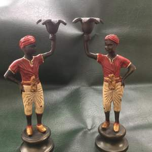 Pair of Cold Painted Bronze Blackamoor Candlesticks