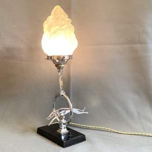 Unusual 1930s Art Deco Chrome Greyhound Lamp