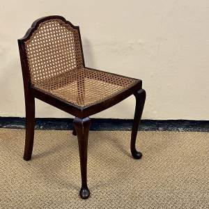 Unusually Shaped Vintage Wood and Cane Vanity Chair