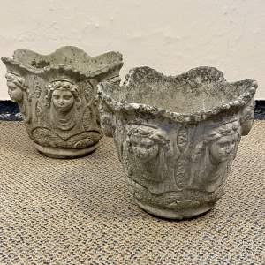 Pair of Vintage Stone Cherub Garden Planters