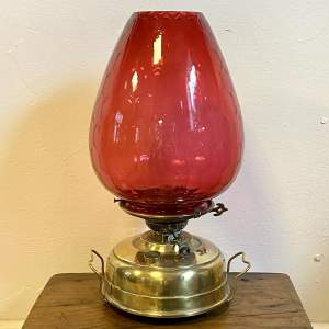 Victorian Brass and Cranberry Glass Shade Oil Lamp