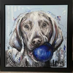 """Samantha Ellis Impressive Original Oil Painting titled """"Fetch"""""""