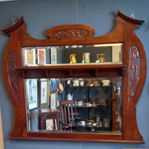 Art Nouveau Mahogany Over Mantel Mirror