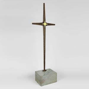 Brutalist Modernist Bronze & Marble Crucifix Cross
