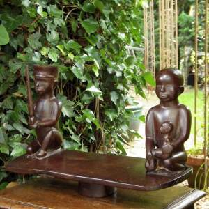 Antique 20th Century Carved Soldier and Mother African Figures