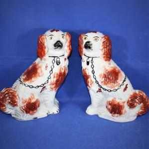 Pair of Late 19th Century Staffordshire Spaniel Ceramic Dogs