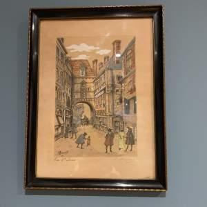 Framed Coloured Etching signed A Brunet