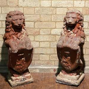 Pair Of Heavy Stone Red Lions