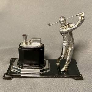 Early 20th Century Ronson Golfer Figurine Desktop Lighter
