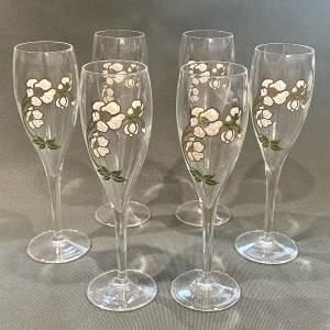 Set of Six Perrier Jouet Belle Epoque Champagne Flutes