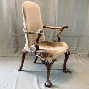 Beautifully Carved Victorian Upholstered Armchair