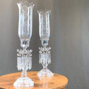 Decorative Pair of Baccarat Signed Lustre Glass Candlesticks