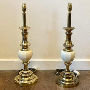Pair of 20th Century White Ceramic and Brass Lamps