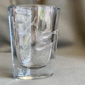 Stromberg Engraved Glass Vase