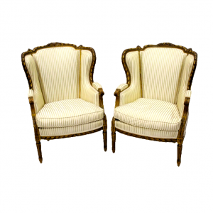 Pair of 19th Century French Carved Giltwood Wing Armchairs