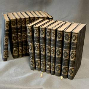 19th Century Set of 18 Volumes of the Works of Sir Walter Scott