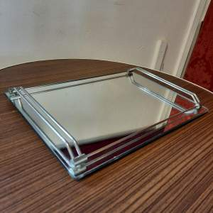 Art Deco Mirrored Tray in the style of Jacques Adnet