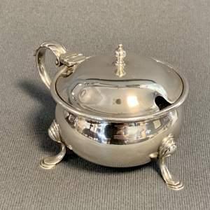 Large Mid 20th Century Silver Mustard Pot